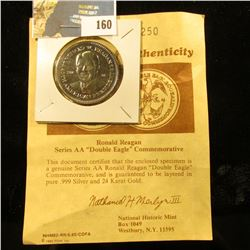 "1984 Ronald Reagan Series AA   ""Double Eagle"" Commemorative with certificate of Authenticity. Layere"
