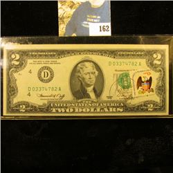 Series 1976 U.S. Two Dollar Federal Reserve Note, CU. Postmarked and stamped with a 13c Stamp on the