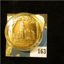 1972 High Relief Terrace Hill Bronze Preservation Medal, encapsulated and Gem BU. 39mm.