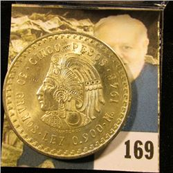 1948 Mexico Silver Cinco 5 Pesos depicting the Aztec Emperor, Cuauhtémoc ~ Ley 0.900 ~ BU ~ UNCIRCUL