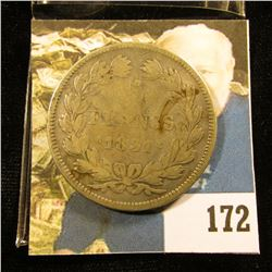 1831 France Silver Five Franc silver-dollar size Coin, VF.