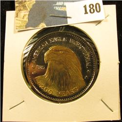 1985 200 Years American Eagle Bicentennial Commemorative Double Eagle Medal, layered in .999 Fine Si