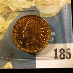 1902 Indian Head Cent, Mostly Red Uncirculated, some purple reverse toning.