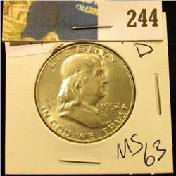 1952 D Franklin Half  MS 63