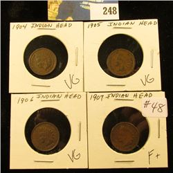 Group of 4 Indian Cents  VG-F, 1904,1905,1906,1907