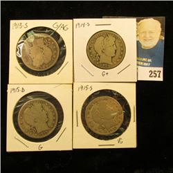 4 more Barber Halves 1913 S, 1914 S, 1915 D, 1915 S