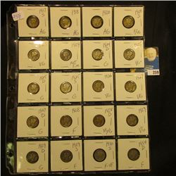 Sheet of 20 Different Mercury dimes  1917 S - 1934 D, AG-F+