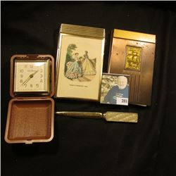 "Note pad with Metal cover and holder, raised design of Sailing Ship; Metal Note Pad with Cover ""Gode"