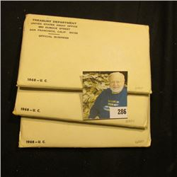(3) unopened 1968 Silver U.S. Mint Sets in unopened original envelopes.