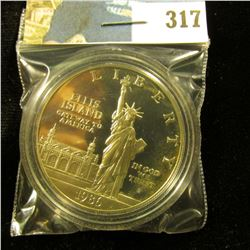 1986 S Ellis Islands Silver Statue of Liberty Commemorative Dollar, Proof, encapsulated.