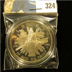 1789-1989 S Bicentennial of the Congress Cameo Proof Silver Dollar, encapsulated.