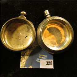 """Pair of Heavy Men's Pocket Watch Cases, no works. One is labeled """"Coin Silver"""" & I believe the keywi"""
