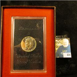 1973 S Cameo Proof Eisenhower Silver Dollar in original brown box. This is the rare one, which was $