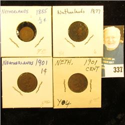 Netherlands: 1885 Half Cent, VF; 1877 & (2) 1901 One Cent Coins F-VF.