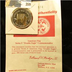 """American Flag Series F """"Double Eagle"""" Commemorative with certificate of Authenticity. Layered in bot"""