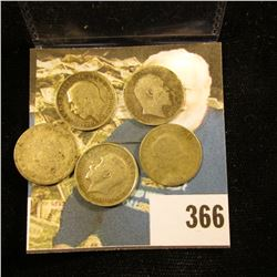 1903, 1911, 1912, 1928, & 1935 Great Britain Silver Three Pences. .1681 ozs. pure Silver.
