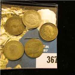 (5) Great Britain Silver Three Pence Coins dating back to 1886. Approximately .1681 ozs. Pure Silver