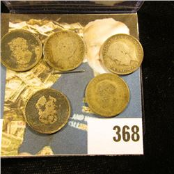 (5) Great Britain Silver Three Pence Coins dating back to 1834. Approximately .1681 ozs. Pure Silver