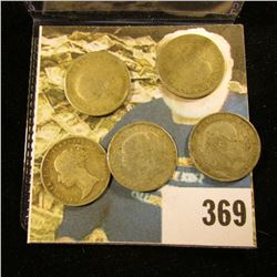 1841, 1875, 1905, 1928, & 1934 Great Britain Silver Three Pence Coins. Approximately .1681 ozs. Pure