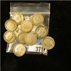 (10) Great Britain Silver Three Pence Coins dating back to 1884. Approximately .3362 ozs. Pure Silve