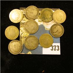 (10) Great Britain Silver Three Pence Coins dating back to 1895. Approximately .3362 ozs. Pure Silve