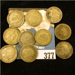 (10) Great Britain Silver Three Pence Coins dating back to 1906. Approximately .3362 ozs. Pure Silve