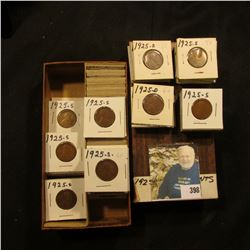"""3 1/4"""" x 6 1/4"""" Stock Box double row box full of 1 1/2"""" carded Lincoln Cents dating 1925D-1926D, man"""