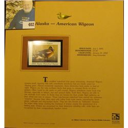 2001 Alaska Waterfowl $5.00 Stamp depicting an American Widgeon, Mint, unsigned, in vinyl page with