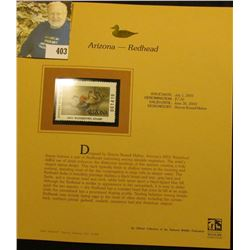 2001 Arizona Waterfowl $7.50 Stamp depicting a pair of Redhead Ducks, Mint, unsigned, in vinyl page