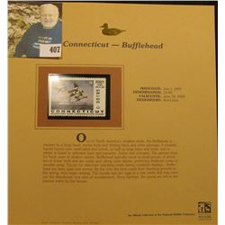 2001 Connecticut Waterfowl $5.00 Stamp depicting a flock of Bufflehead Ducks, Mint, unsigned, in vin