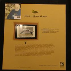 2001 Iowa Migratory Waterfowl $6.00 Stamp depicting a Snow Goose, Mint, unsigned, in vinyl page with
