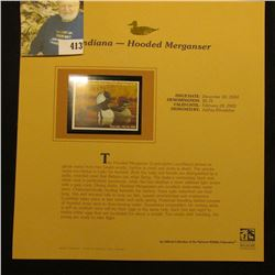 2001 Indiana Waterfowl $6.75 Stamp depicting a pair of Hooded Merganser Ducks, Mint, unsigned, in vi