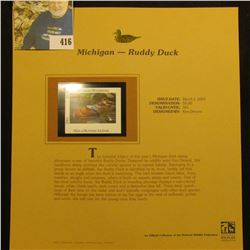 2001 Michigan Waterfowl $5.00 Stamp depicting a pair of Ruddy Ducks, Mint, unsigned, in vinyl page w
