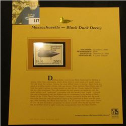 2001 Massachusetts Waterfowl $5.00 Stamp depicting a Black Duck Decoy, Mint, unsigned, in vinyl page