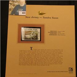 2001 New Jersey Waterfowl $5.00 Stamp depicting a pair of Tundra Swans, Mint, unsigned, in vinyl pag