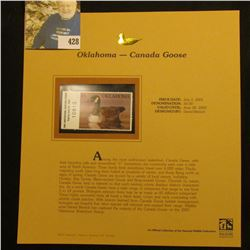 2001 Oklahoma Waterfowl Hunting $4.00 Stamp depicting a Canada Goose, Mint, unsigned, in vinyl page