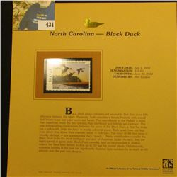 2001 North Carolina Waterfowl $10.00 Stamp depicting a flock of Black Ducks, Mint, unsigned, in viny