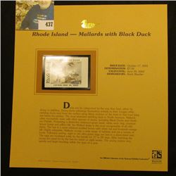 2001 Rhode Island Waterfowl $7.50 Stamp depicting a pair of Mallards with Black Duck, Mint, unsigned