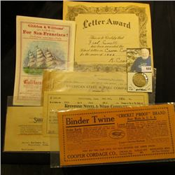"1946 Letter Award Certificate; 1910 Check drawn on the account of ""American Steel & Wire Company, Ch"
