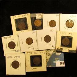 1909 P VDB Fine, (5) 1910 P grading up to VF, (2) 11 P, 12 P & D Lincoln Cents, all carded and ready