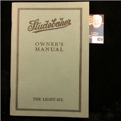 "Early 1900 manual ""Studebaker Owner's Manual The Light-Six"", 64 pgs."