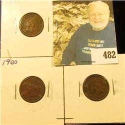 1897 VG, 1900 Fine, & 1901 VF-EF Indian Head Cents.
