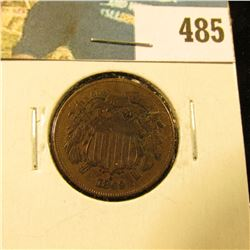 1869 U.S. Two Cent Piece, Fine, light silvering on the reverse.
