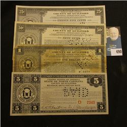 1934 four-piece set of Depression Scrip .25c, .50c, $1, & $5 State of North Carolina, County of Guil