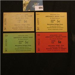 "(4) Different ""Muscatine, Iowa Merchant's Bridge Ticket for Illinois Residents Good For 5c"" scrip."