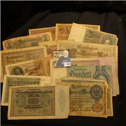 Lot of (20) pieces of German currency dating 1910-1942, various denominations.