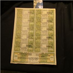 1922 50,000 mark German bond with interest coupons attached. Nice condition.