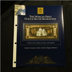 """Large souvenir page containing """"The World's First Gold & Silver Banknotes"""" """"Official Legal Tender of"""