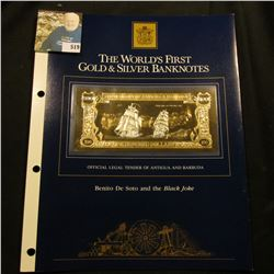"Large souvenir page containing ""The World's First Gold & Silver Banknotes"" ""Official Legal Tender of"