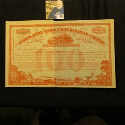 """Unissued Stock Certificate """"The St. Louis, Alton and Terre Haute Railroad Company"""" for 100 Shares wi"""
